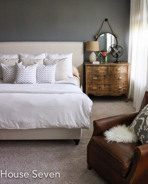 Grey bedroom with neutral bedding eclecticallyvintage.com