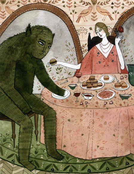 Beauty and the Beast illustration by Yelena Bryksenkova for Fairytale Food by Lucie Cash