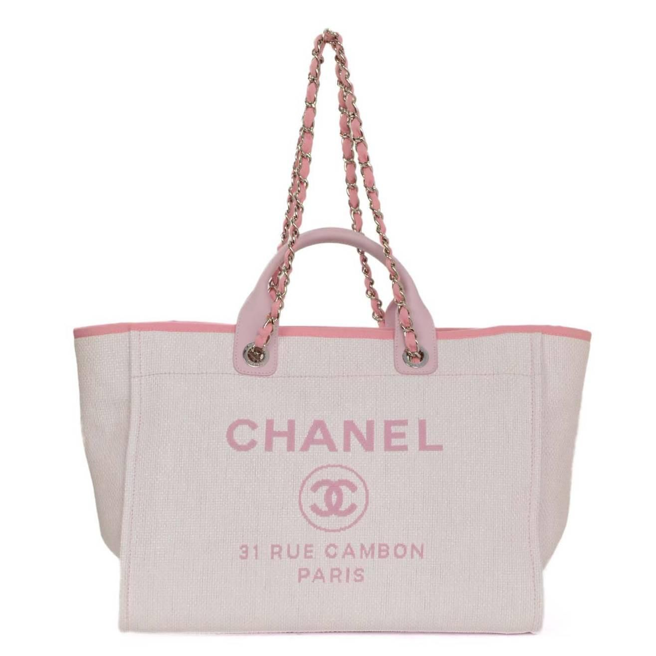 c3d6eec23fa0f Chanel Pink Canvas Deauville Tote Bag SHW