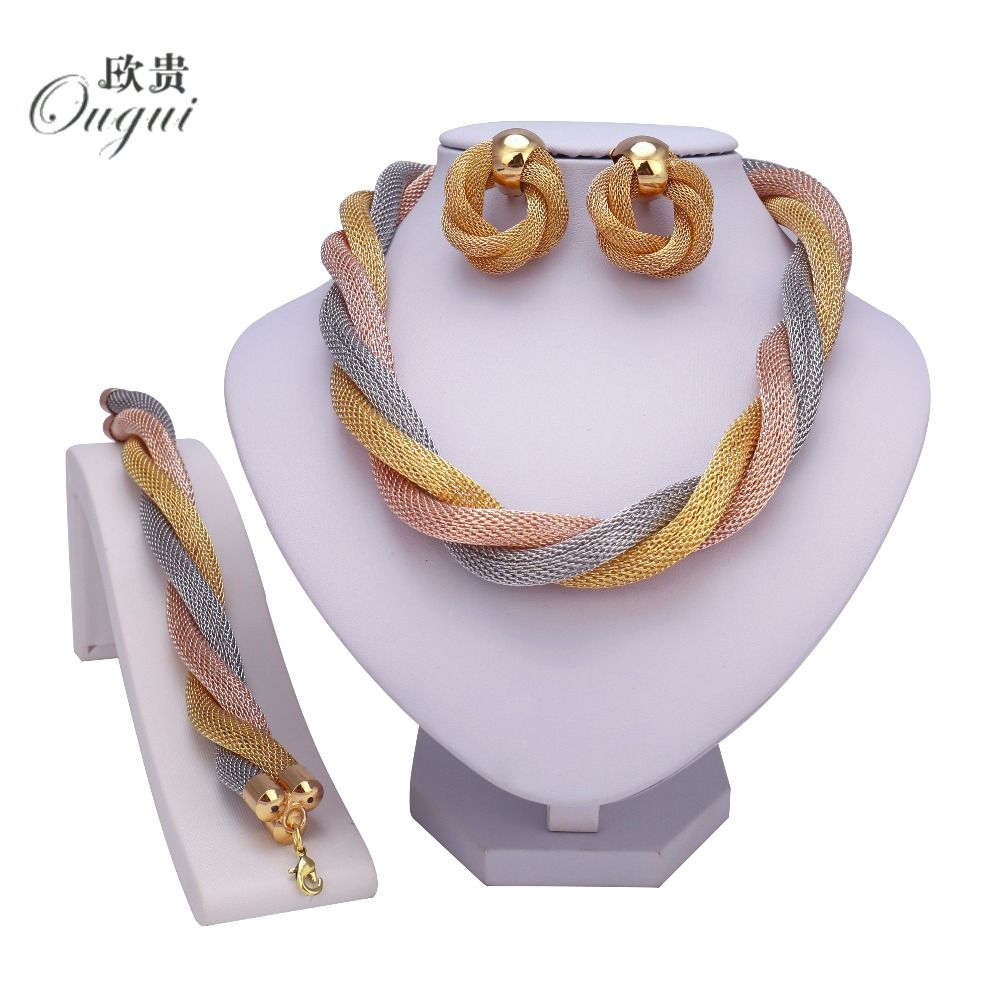 New dubai fashion gold color jewelry set nigerian wedding ucfontueucb