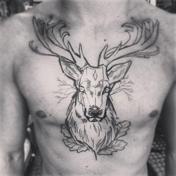 Cool Chest Deer Tattoo For Men Tattoo Ideas Deer Tattoo