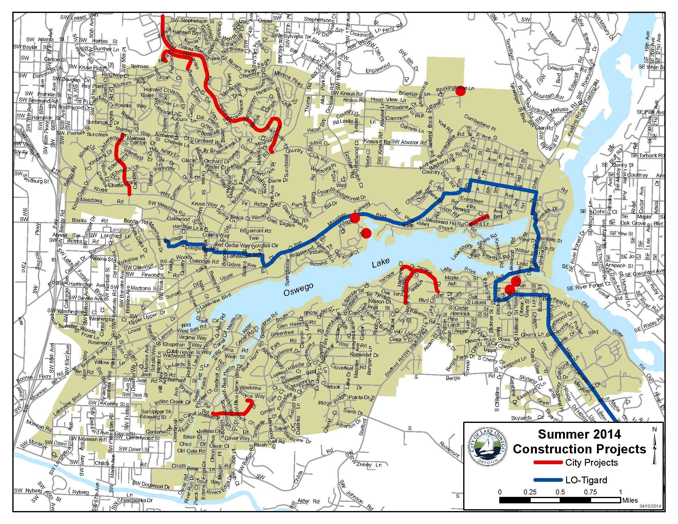 Lake Oswego Street Map Summer 2014 Construction Projects Lake