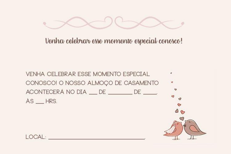 Convite Para Almoço De Casamento Casamento Civil Modelos De