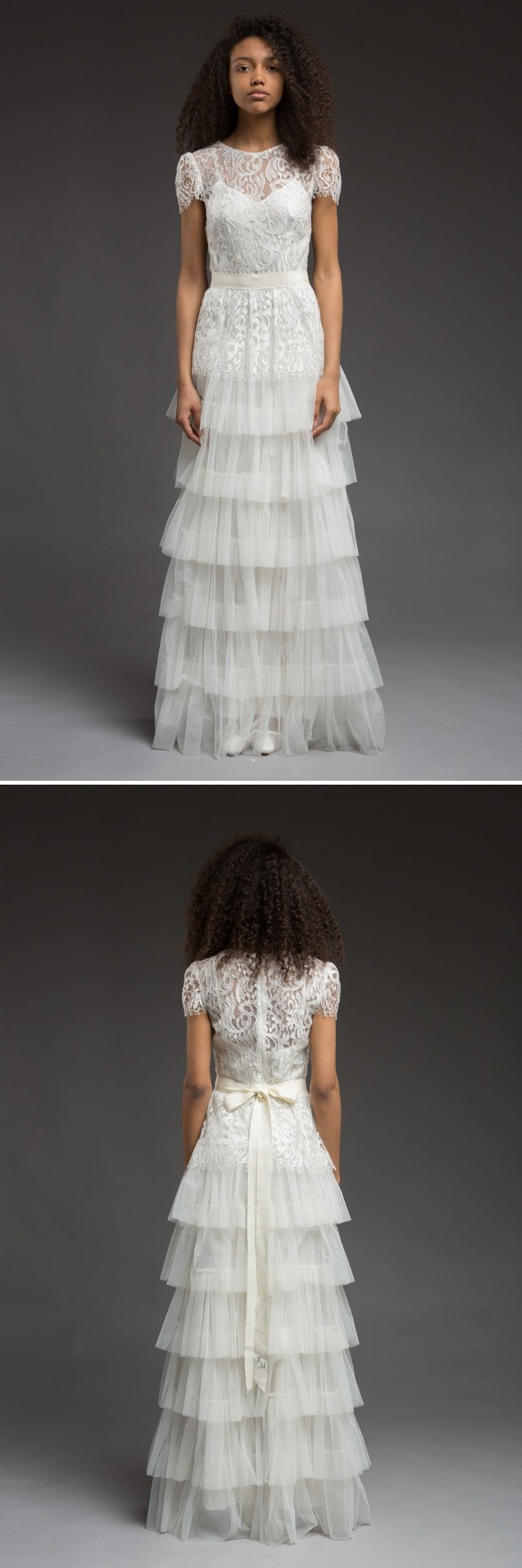 Tulle tiered vintage inspired wedding dress wedding dress