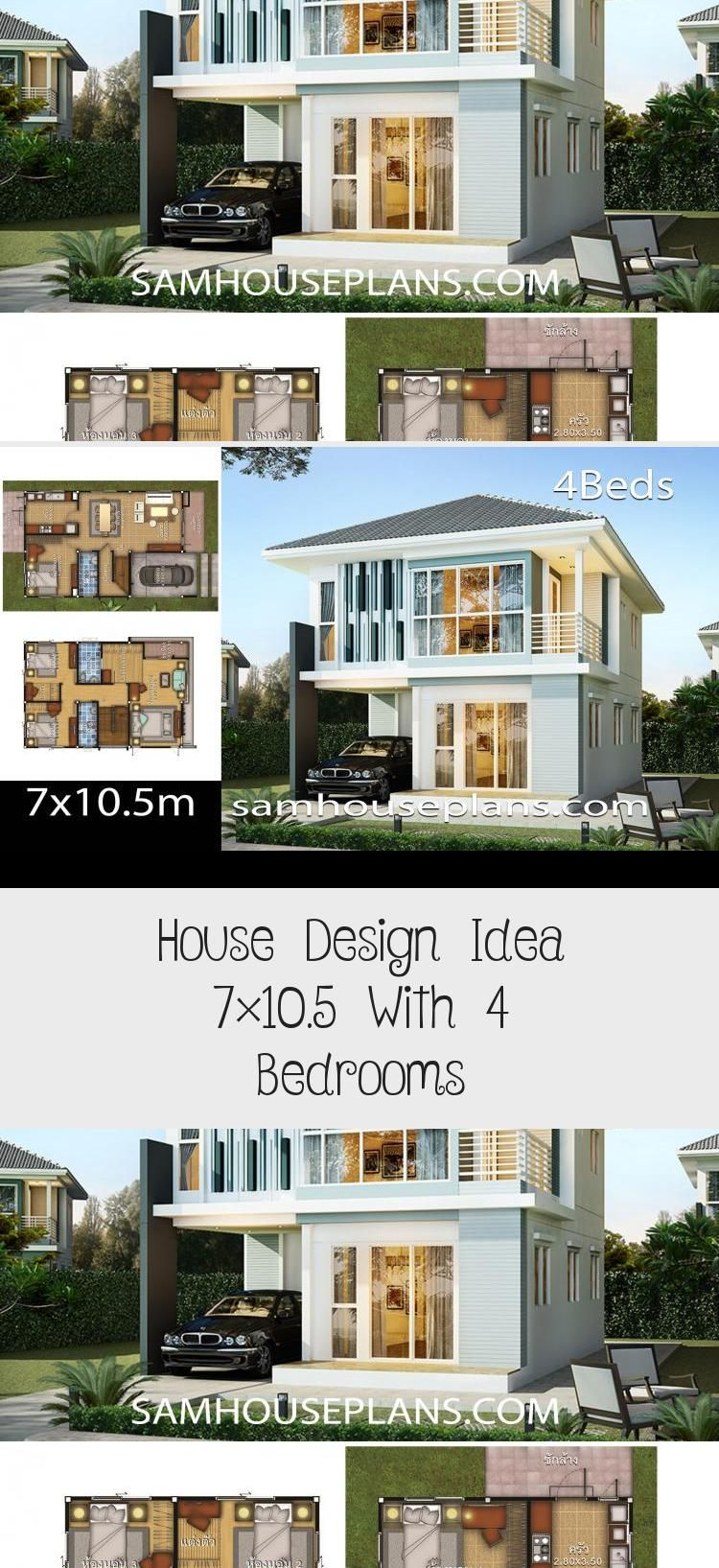 House Design Idea 7x10 5 With 4 Bedrooms Sam House Plans Smallhouseplans500sqft Smallhouseplanscontempo In 2020 Courtyard House Plans House Design Pool House Plans