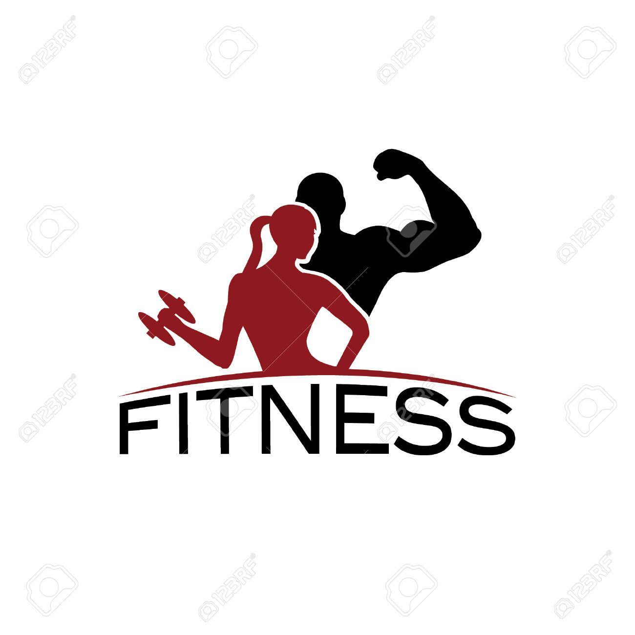 Man And Woman Of Fitness Silhouette Character Vector Design Template Fitness Logo Design Template Vector Design