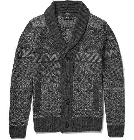 Hugo Boss Shawl-Collar Fair Isle Wool and Cashmere-Blend Cardigan ...