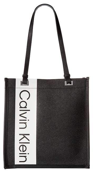 001b8dd0117 Calvin Klein Saffiano North/South Tote Tote Handbags in Black/Silver ($148)  #handbags #bags #shoulderbag #calvinklein #affiliate #shopstyle #mystyle #  ...