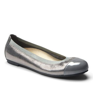 This Pewter Lizard Allora Leather Flat by Vionic with