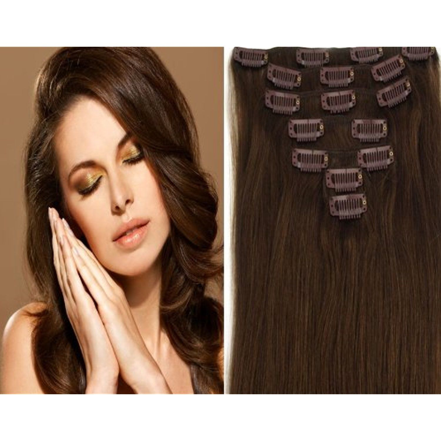 CLIP IN REMY REAL HUMAN HAIR EXTENSIONS 7PCS 20 Inch 70g