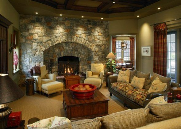 family room decorating ideas with fireplace | ... with Colonial ...
