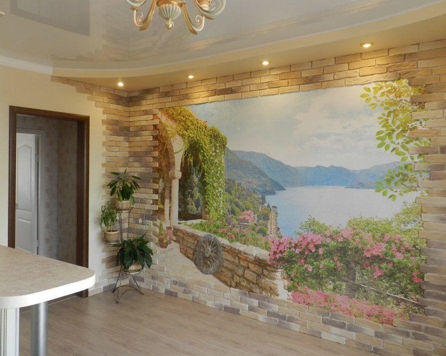 24 фото фрески фотообои на стену в интерьере прихожей ...