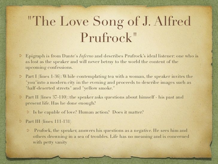 the love song of j One of the first true modernist poems, the love song of j alfred prufrock is a shifting, repetitive monologue, the thoughts of a mature male as he searches for love and meaning in an.