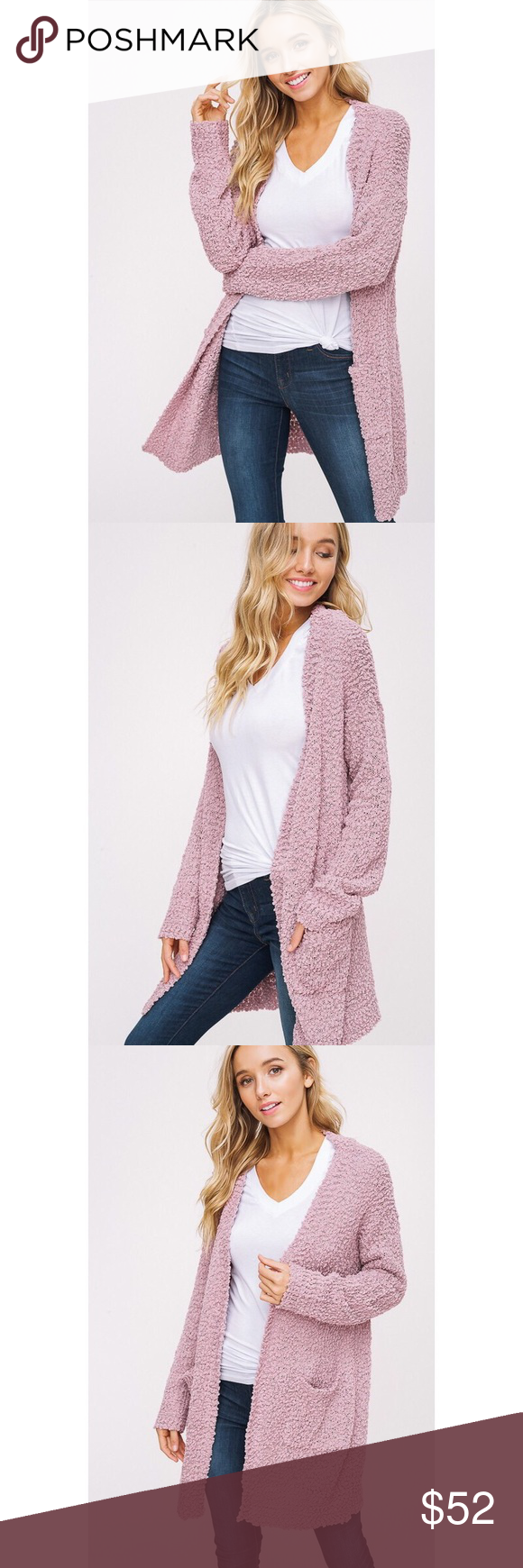 >>LAST 2<< Polly Popcorn Chunky Cardigan - Mauve You'll never want to take off this dream of a cardigan! Features a soft popcorn texture, drop shoulder with long sleeves, 2 front pockets. 100% Acrylic. ALSO AVAILABLE IN IVORY AND MOCHA. likeNarly Sweaters Cardigans