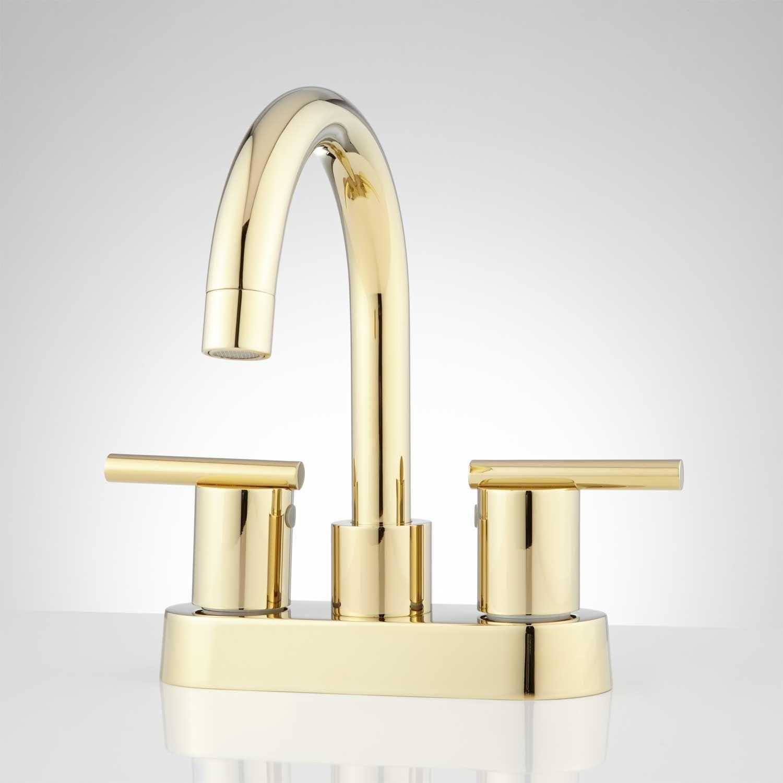 Lindo Centerset Bathroom Faucet - Overflow - Polished Brass