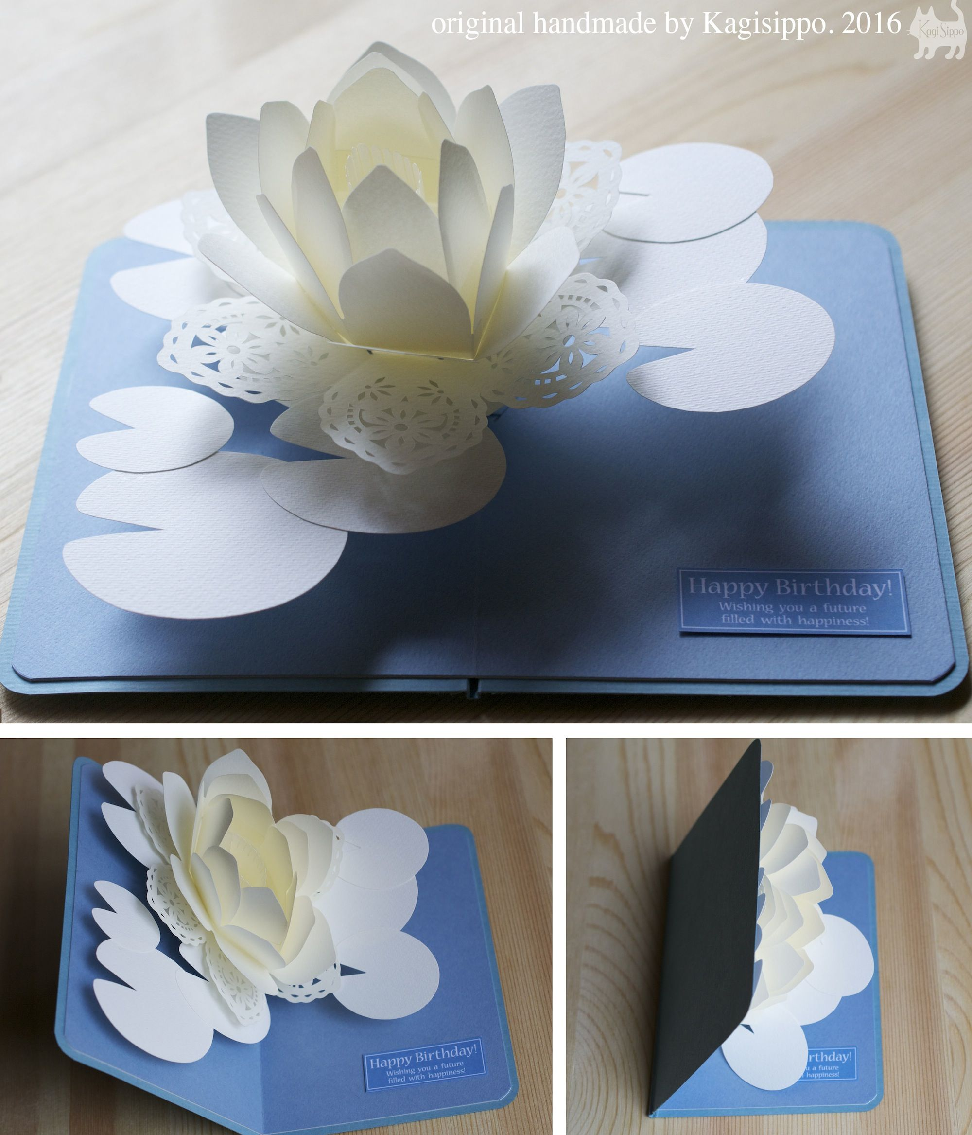 Pop Up Card Water Lily 2016 Original Handmade By Kagisippo Youtube Https Youtu Be Mmo8mkja Birthday Card Pop Up Pop Up Flowers Origami Birthday Card