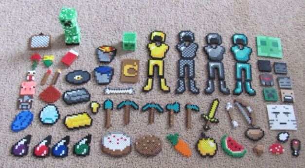 Minecraft Stuff Made Of Pyssla Beads Hama Beads Minecraft