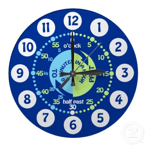 Boys Learn To Tell Time Blue Wall Clock Zazzle Com Blue Wall Clocks Wall Clock Green Wall Clocks