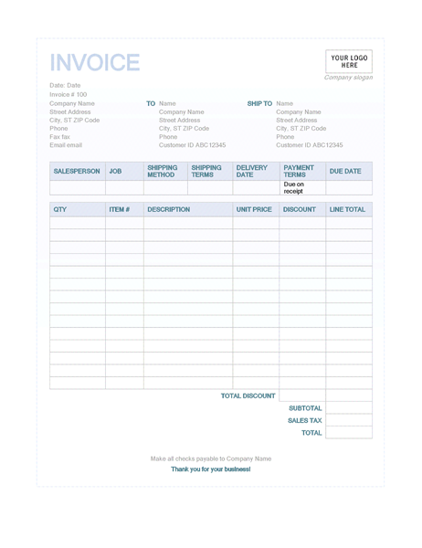 Sales Invoice Blue Background Design Invoice Template Receipt Template Sample Resume