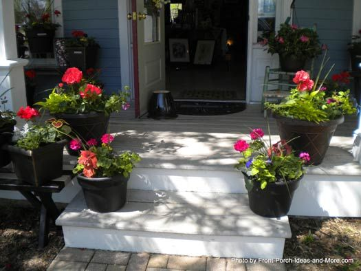Porch Steps Designs And More Porch Flowers Porch Steps Front Porch Plants