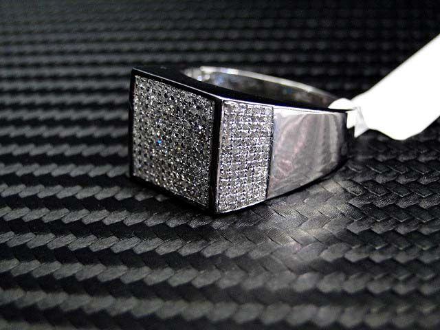 10K White Gold Mens Diamond Ring RingsMen Wedding