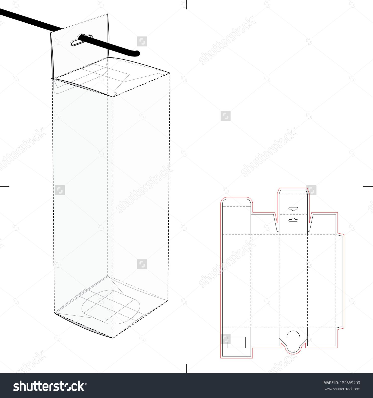 Tall Box With Auto-Lock Bottom And Hanging Hole And Die-Cut ...