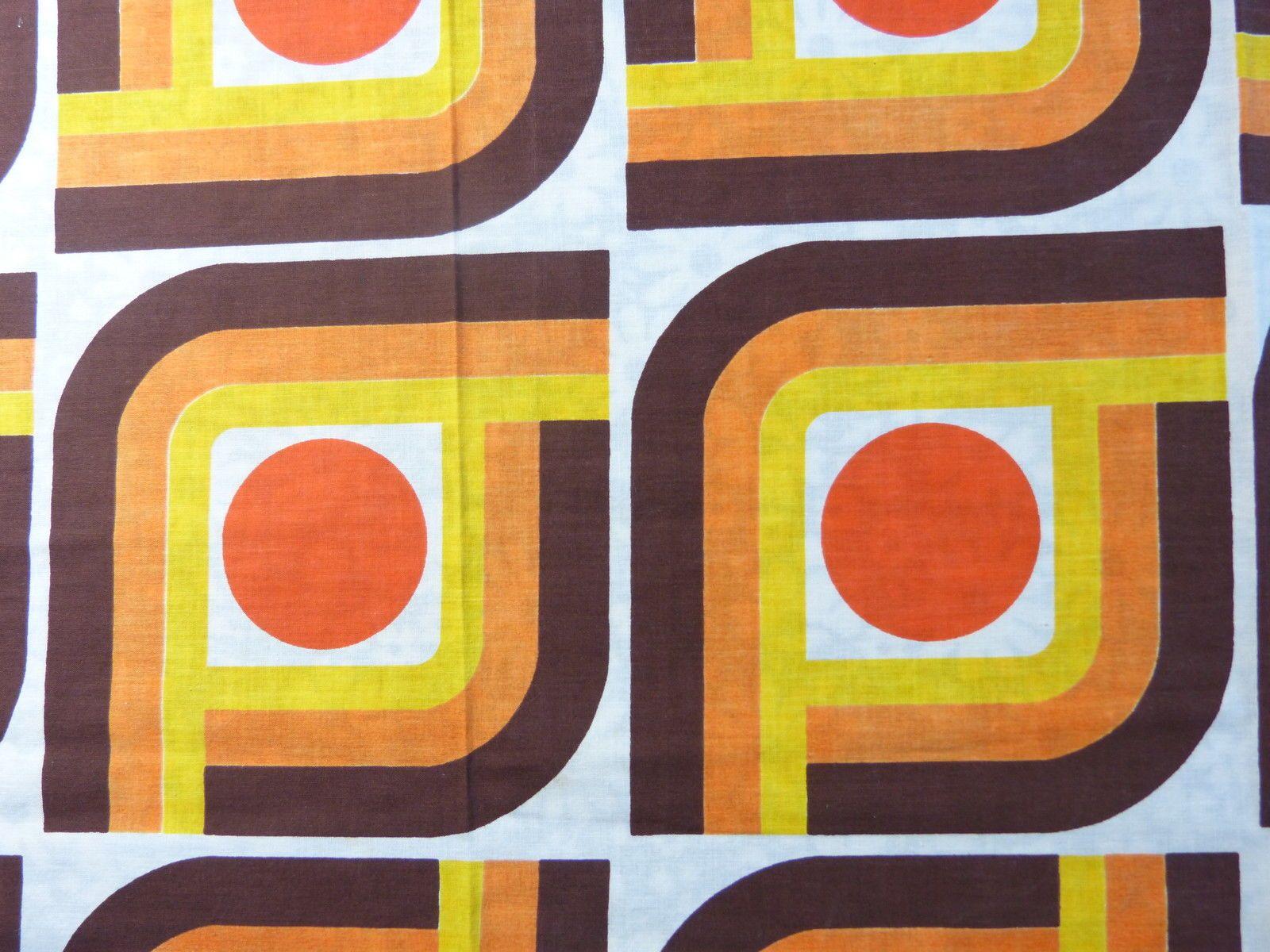 Paire Rideaux Tissu Coton Abstrait Geometrique Orange Marron Vintage