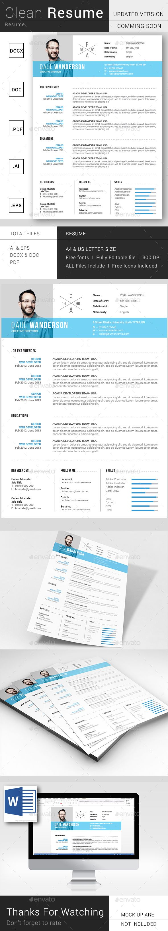 Simple Resume / CV Template Vector EPS, AI Illustrator, MS Word ...