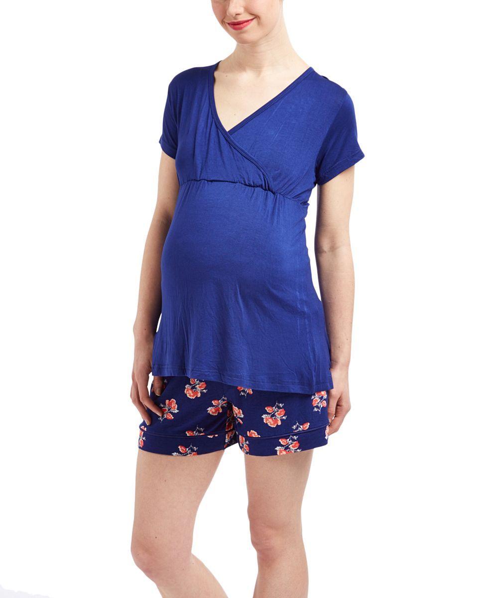 Blue Floral Surplice Top & Boxers Maternity/Nursing Pajama