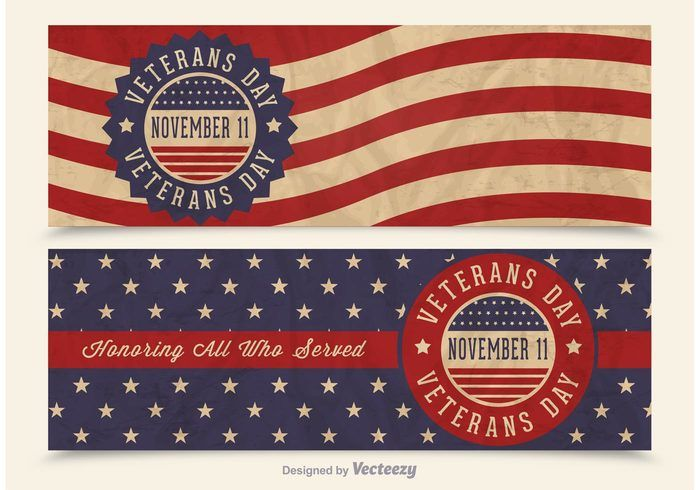 Free Veterans Day Vector Retro Banners Veterans Day Free Veterans Day Veteran