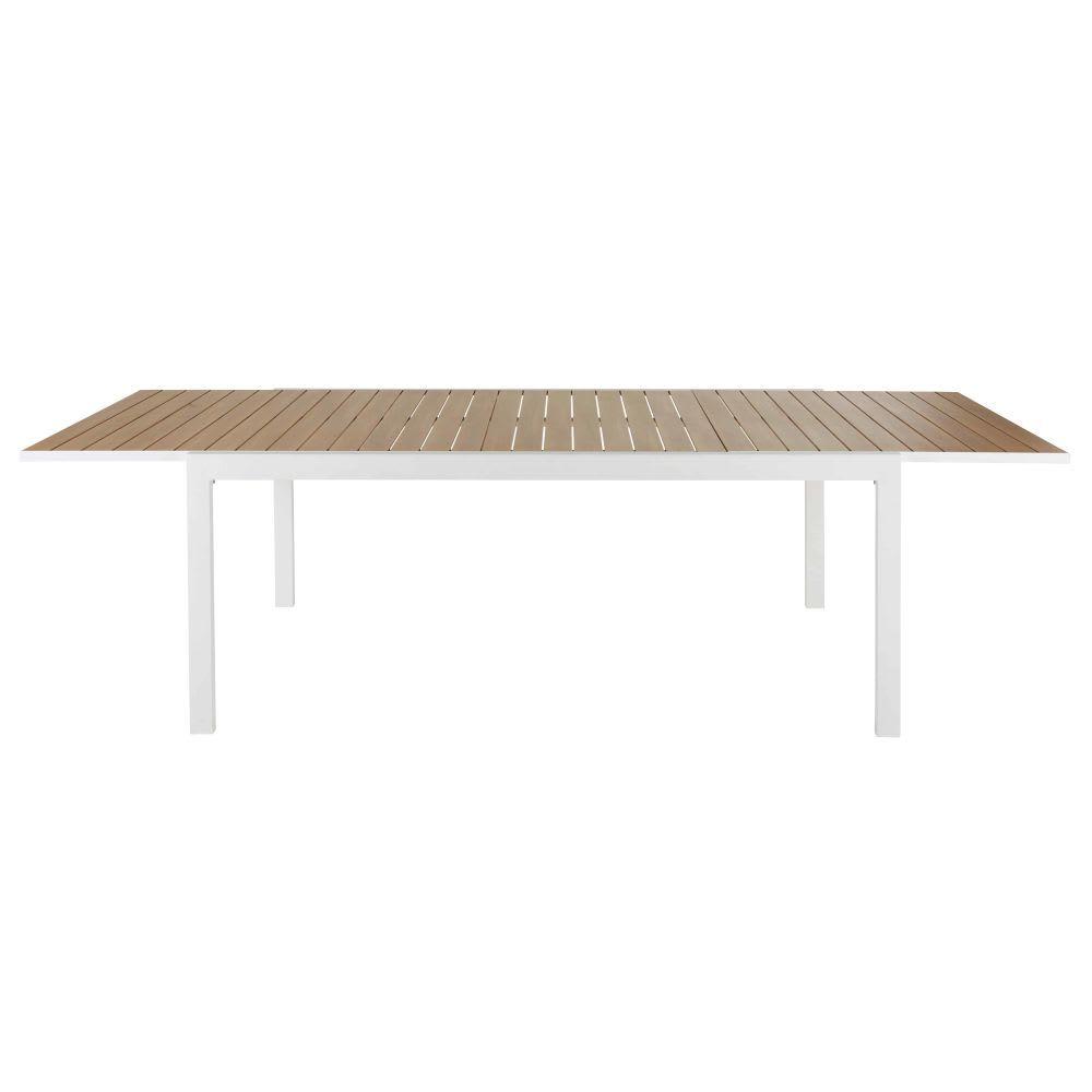 Ausziehbarer Gartentisch Aus Aluminium Mit Teakholz Imitation Fur