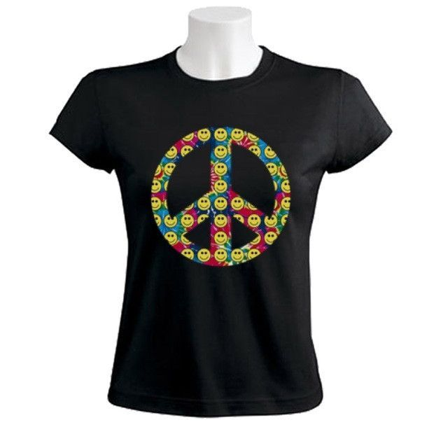 Peace Sign-Smiley Faces Women T Shirts