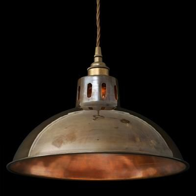 Lyon Industrial Antique Brass Pendant Light by Alexander and Pearl