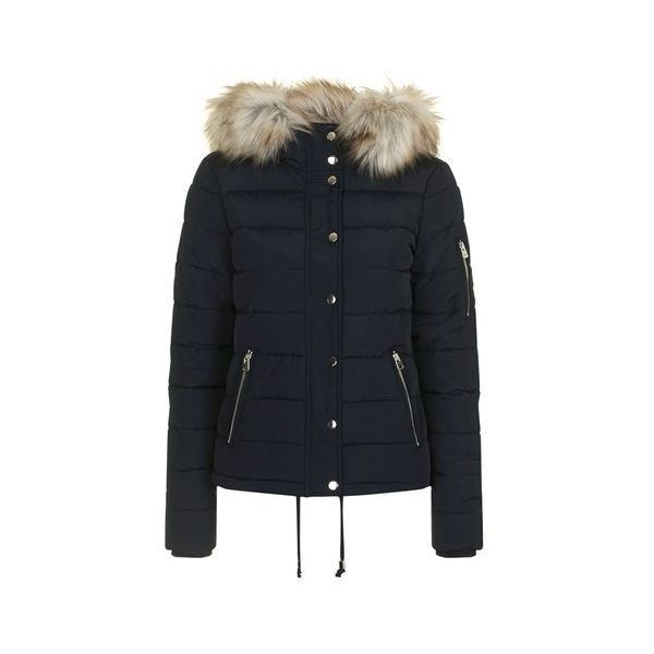TopShop Quilted Puffer Jacket (860 MAD) ❤ liked on Polyvore ... : navy blue quilted coat - Adamdwight.com