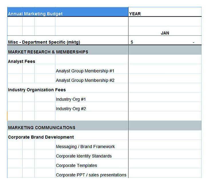 marketing budget plan template , Using the Marketing Budget Template - sample spreadsheet