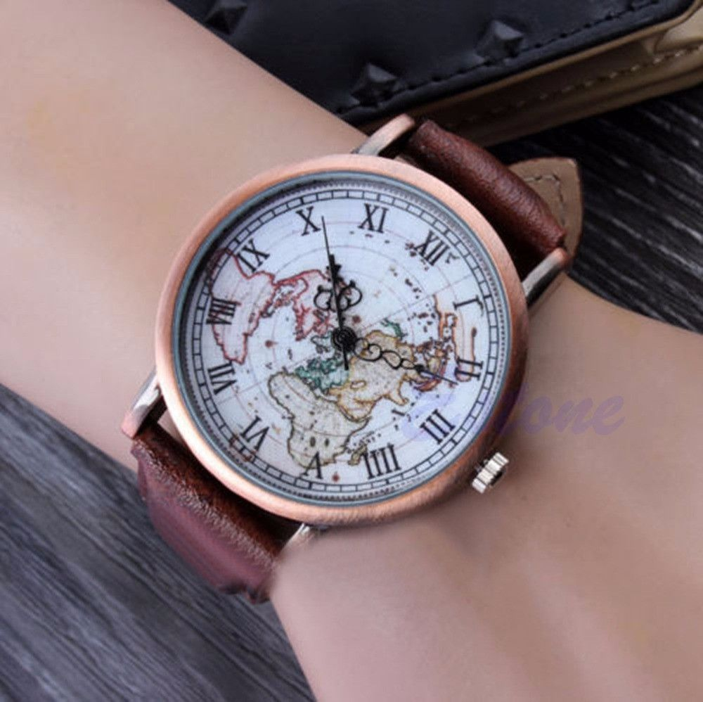 Women vintage style world map casual sports leather watch watches women vintage style world map casual sports leather watch around the world watch black one size around the world in 12 hours sleek watch topped with a gumiabroncs Gallery