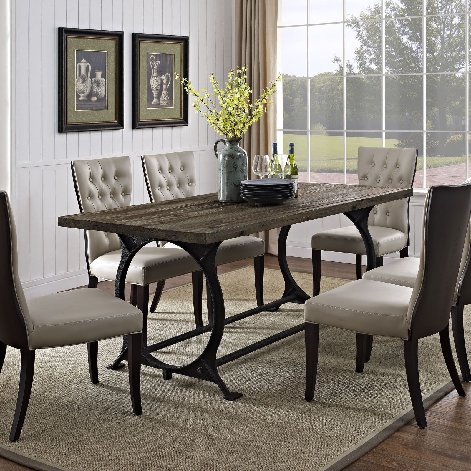 Modern Dining Table, Wood And Iron Dining Room Set