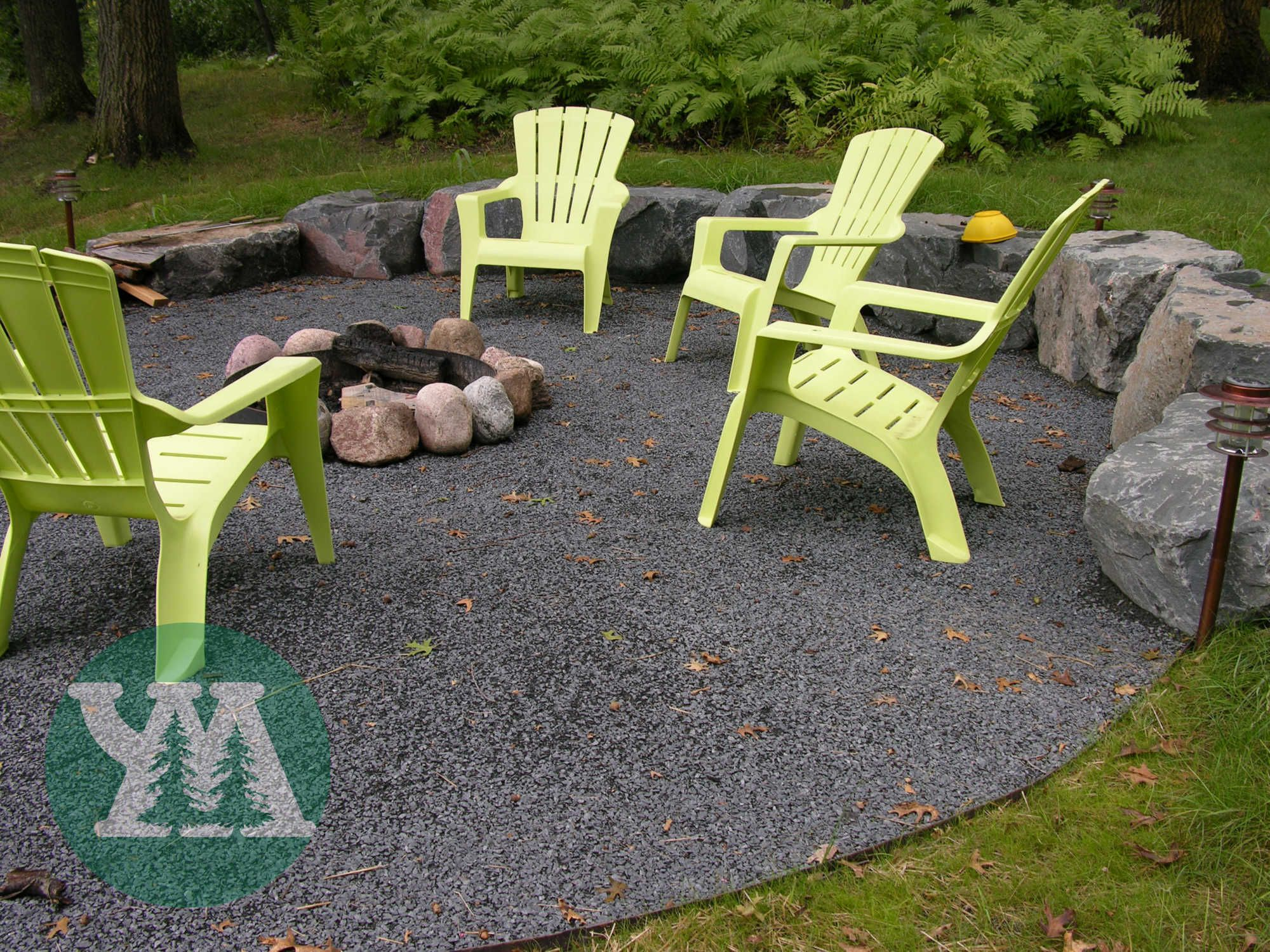 crushed stone around a firepit . C should have saved all those for ...