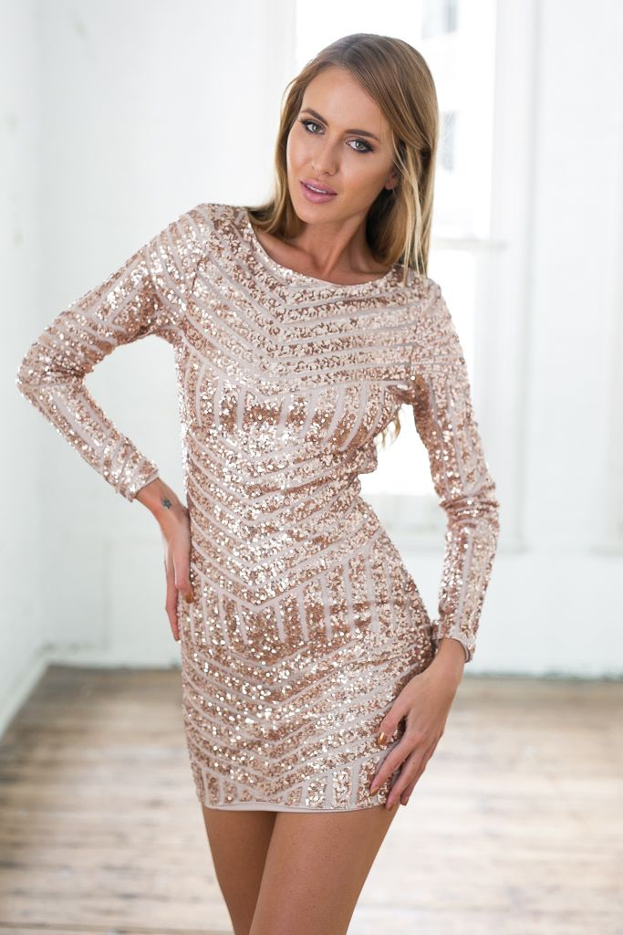 Rose Gold Sequin Long Sleeve Dress W Open Back Long Sleeve Sequin Dress Long Sleeve Dress Sequin Dress Short