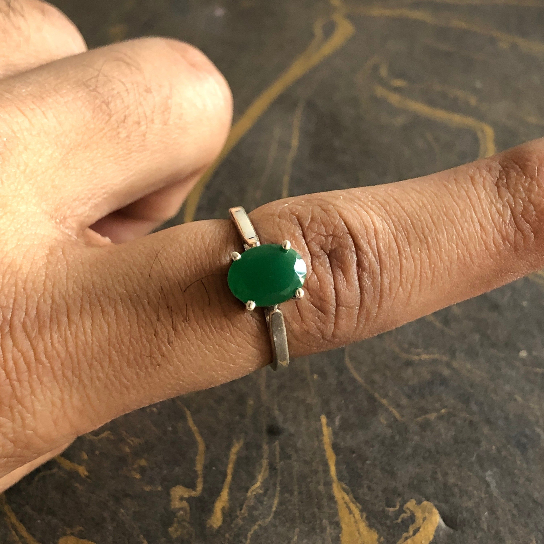 Silver Ring 925 Emerald Natural Moonstone