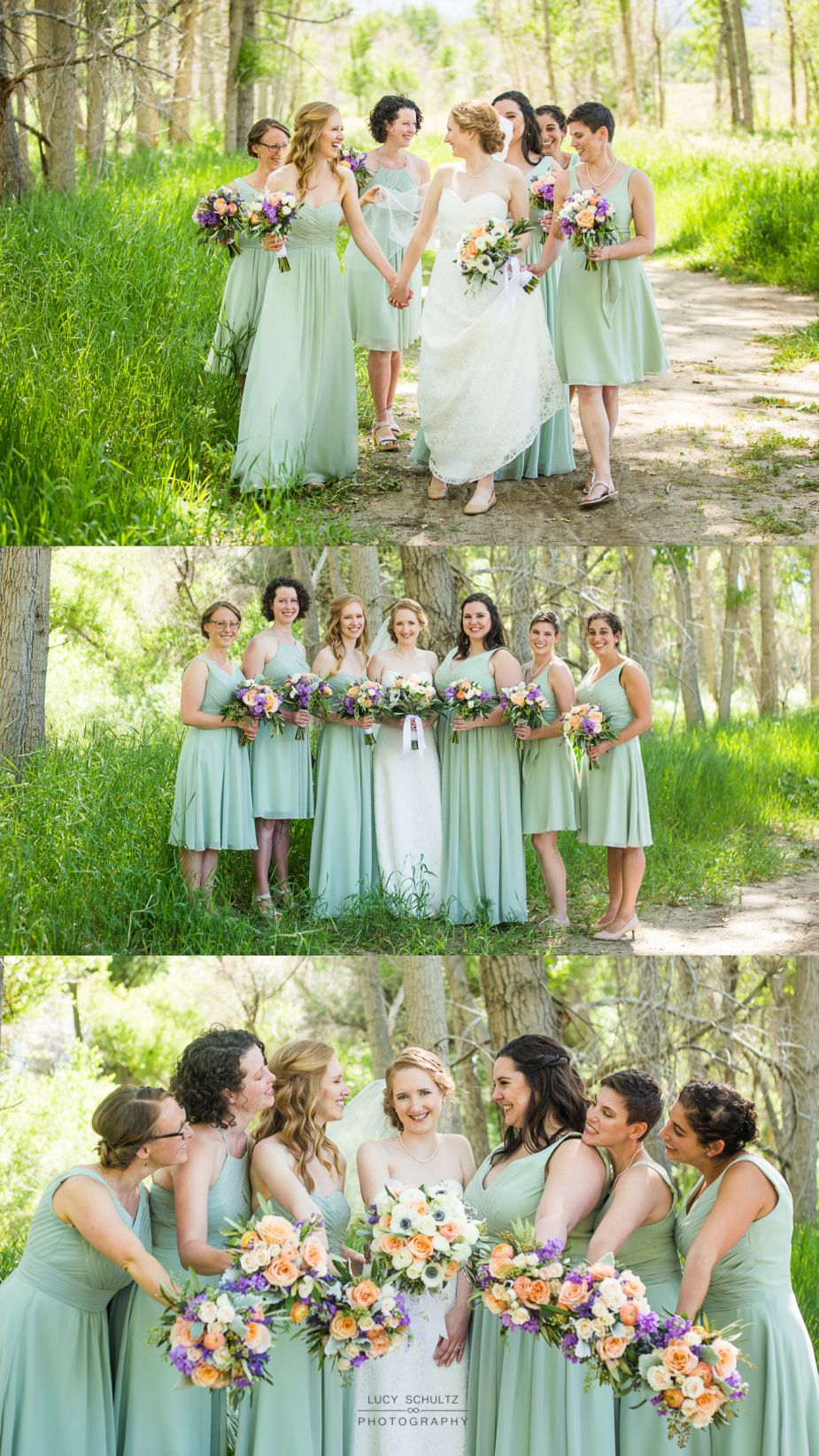 These peach and green wedding bouquets by melissatimm are perfect summer sage green bridesmaids fun bridesmaids photo ideas bridesmaids walking bridesmaids holding hands ombrellifo Image collections