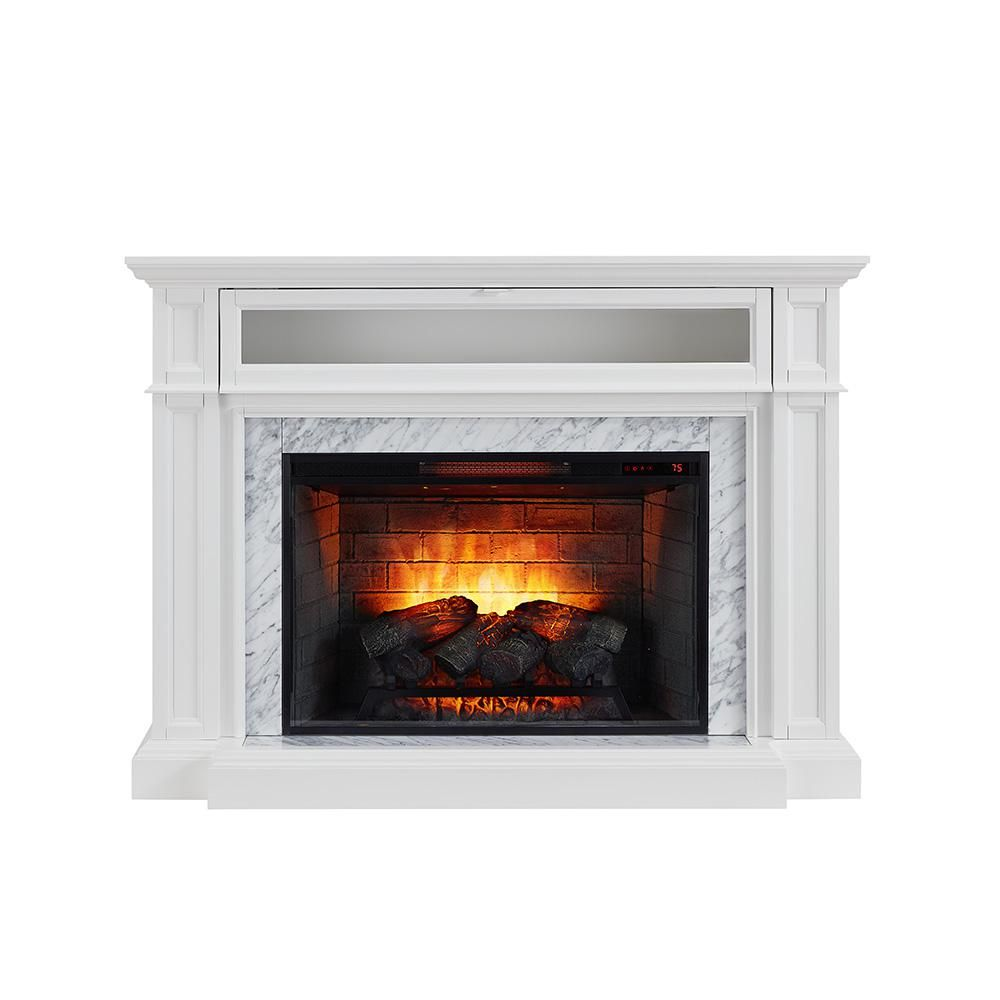 Home Decorators Collection Charice 57 In Freestanding Infrared Electric Fireplace In White With Carrar Electric Fireplace Fireplace Home Decorators Collection