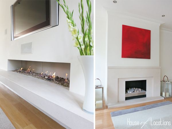 Fireplace At Contemporary Location House With Eastern Influences