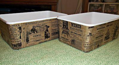 Decoupaged plastic bins (tutorial)