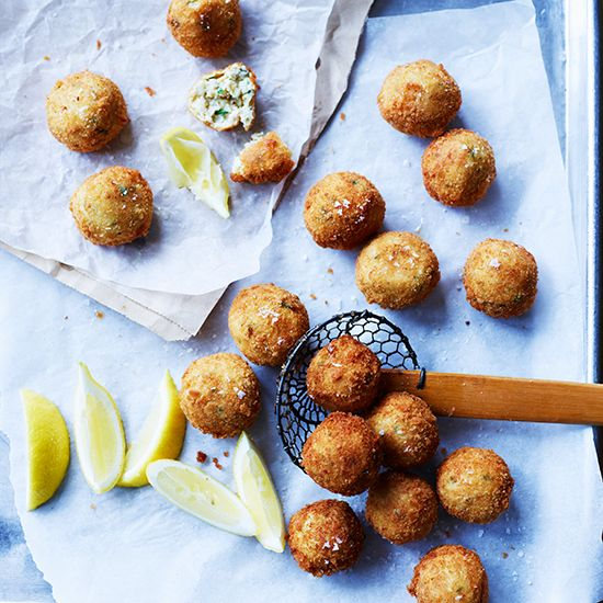 Fried Italian Turkey-and-Cheese Meatballs | Fried meatballs are a Florentine specialty; this version can be made with any cooked meat, from roast or boiled beef to chicken and pork.