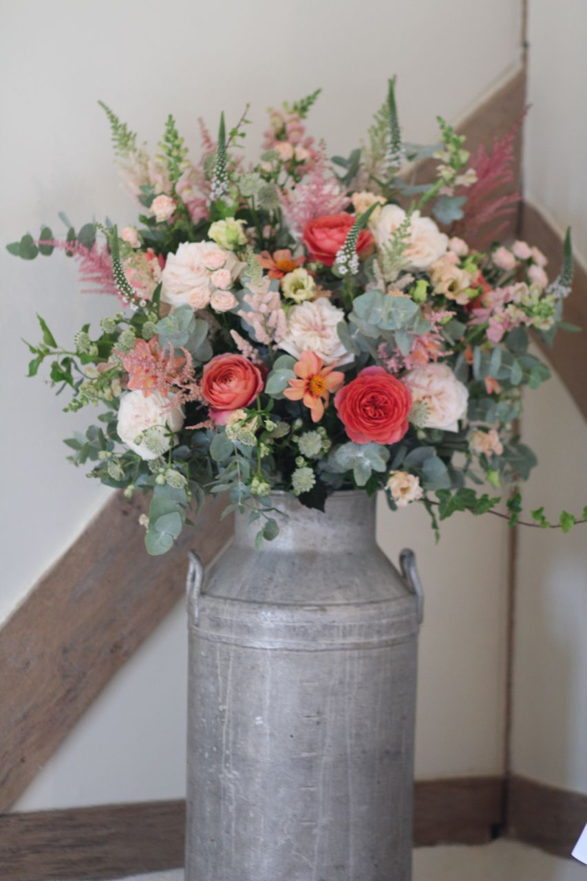 Peach Pink And Coral Wedding Flowers At Cain Manor Surrey Created