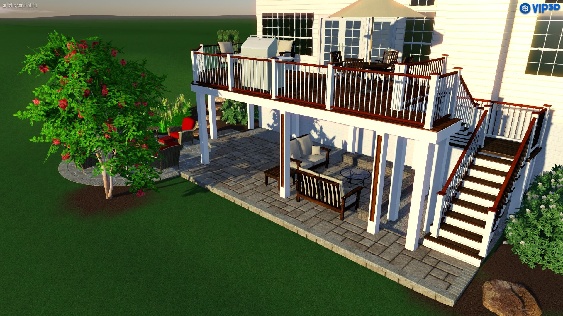 This design includes deck patio living space under the deck