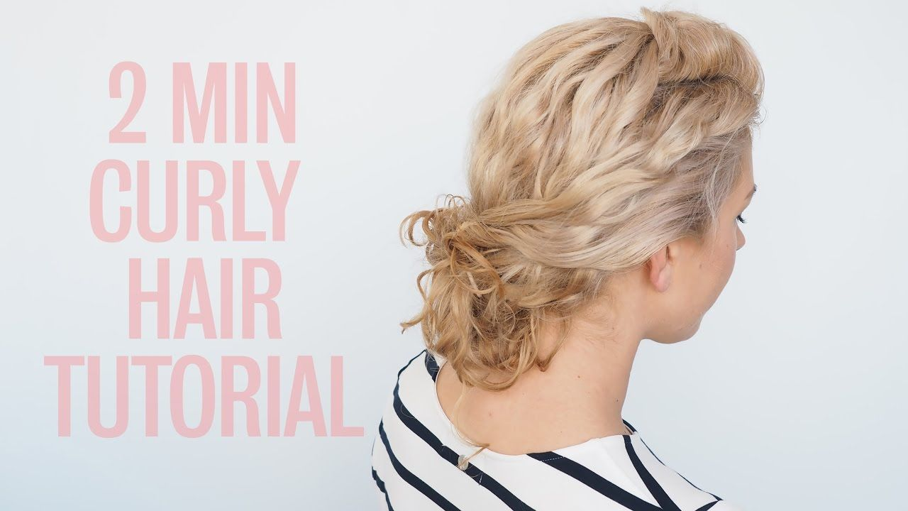 Easy curly hairstyle tutorial curly twist bun hair pinterest