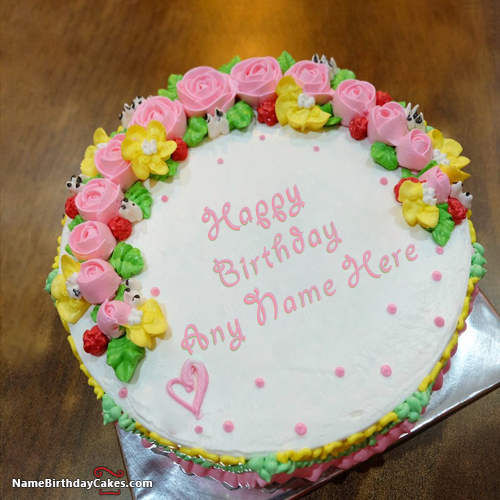 Beautiful Flowers Happy Birthday Cakes For Sister With Name