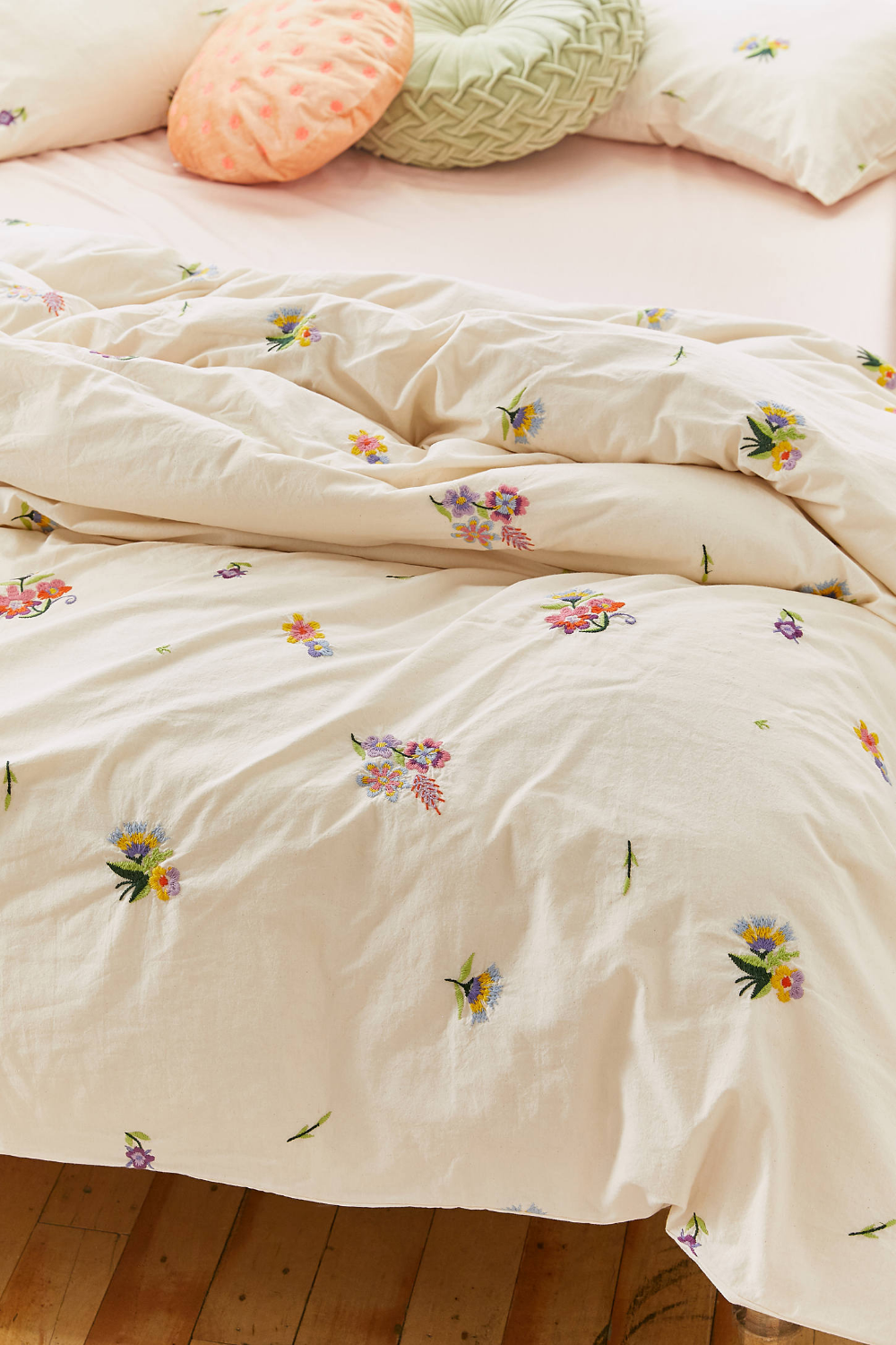 Georgine Embroidered Floral Duvet Cover In 2020 Floral Duvet Cover Embroidered Duvet Cover Floral Duvet